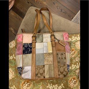 Vintage Coach patchwork tote